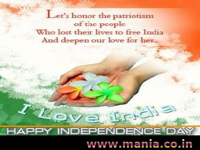 Let's honor the patriotism of the people. Who lose their lives to free India And deepen our love for her.. I Love India. Happy Independence Day