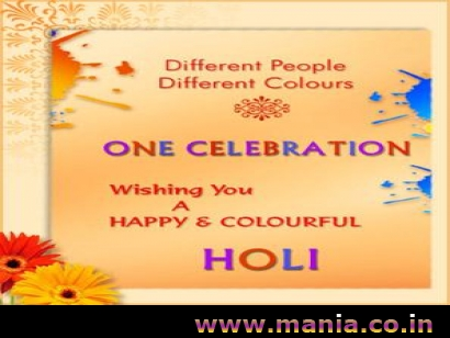 Different people different colours One Celebration wishing you a Happy Colour ful holi