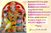 G-ganapait(lord Of All Gods), A-alampata (infinite Lord), N-nideeshwarm (bestower Of Treasures And Riches), E-eshanputra(son Of Lord Shiva), S-siddhidata (giver Of Success), H-harida(golden Coloured), A-avighna(remover Of All Defficulties Of Obstacle) Happy Ganesh Chaturthi