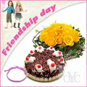 Cake With Flower On Friendship Day