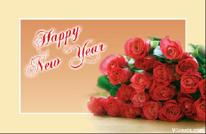 Happy New Year Rose Greeting